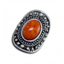 Women Fashion Vintage Stud Orange Marble Adjustable Ring