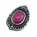 Women Fashion Vintage Sphere Stud Pink Marble Adjustable Ring