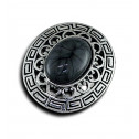 Women Fashion Vintage Greek Key Black Marble Adjustable Ring