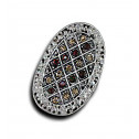 Women Fashion Brown Gold CZ Diamond Oval Mesh Adjustable Ring