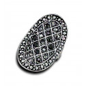 Women Fashion Black Gray CZ Diamond Oval Mesh Adjustable Ring