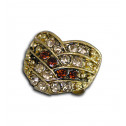 Women Fashion Brown Gold CZ Diamond Overlap Heart Adjustable Ring