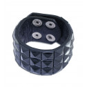 Black Leather Bracelet With Black Diamond Shaped Pyramid Stud Design