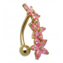 14k Yellow Gold Pink Marquise CZ 14g Flower Belly Ring