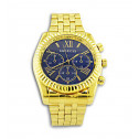Impress Mens Large Blue Dial Roman Numeral Gold Tone Watch