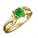 10K Yellow Gold 0.05 ct. Diamond Cushion Emerald Ring