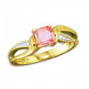 10K Yellow Gold 0.05 ct. Diamond Square Pink Sapphire Ring