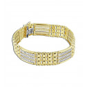 14k Yellow Gold Bar Link Round White CZ Diamonds Channel Mens Bracelet