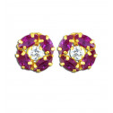 14K Yellow Gold Red White CZ Diamond Floral Screw Stud Earrings