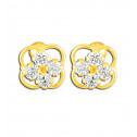 14K Yellow Gold White CZ Diamond Floral Cluster Stud Earrings