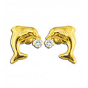 14K Yellow Gold White CZ Diamond Jumping Dolphin Screw Earrings