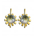 14K Yellow Gold Multi Colored Circle CZ Diamond Floral Earrings