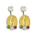 14K Yellow Gold White Red Green CZ Diamond Guadalupe Earrings