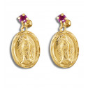 14K Yellow Gold Red CZ Diamond Our Lady of Guadalupe Earrings