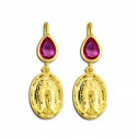14K Yellow Gold Red Pear CZ Diamond Lady of Guadalupe Earrings