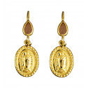14K Yellow Gold Light Brown Pear CZ Diamond Guadalupe Earrings