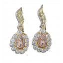 14K Yellow Rose Gold White CZ Diamond Studded Guadalupe Earrings