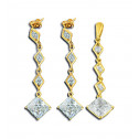 14K Yellow Gold White Princess CZ Diamond Pendant Earrings Set