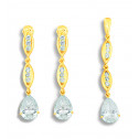 14K Yellow Gold Pear Cut CZ Diamond Link Pendant Earring Set