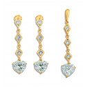 14K Yellow Gold White Heart CZ Diamond Pendant Earrings Set