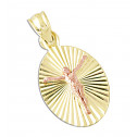 14k Yellow and Rose Gold Jesus Oval Religious Pendant