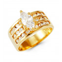 14k Solid Gold Round Marquise CZ Wide Fashion Band Ring
