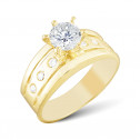 14k Yellow Gold White Clear Diamond CZ Engagement Ring