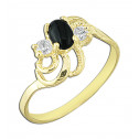14k Yellow Gold  with Black Stone and White Cubic Zirconia Fashion Ring