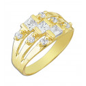 14k Yellow Gold Triple Band White Cubic Zirconia Fashion Ring