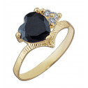 14k Yellow Gold Black Heart Cubic Zirconia White Cubic Zirconia Diamond Ring