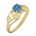 14k Yellow Gold Flower Leaf Light Blue Cubic Zirconia Diamond Fashion Ring