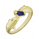 14k Yellow Gold Purple Marquise Cubic Zirconia Dolphin Ring