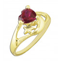14k Yellow Gold Red Heart Moon Star Cubic Zirconia Ring