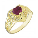 14k Yellow Gold Red Heart Cubic Zirconia Heart  Ring