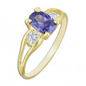 14k Yellow Gold Purple Oval Cubic Zirconia White Round Cubic Zirconia Ring