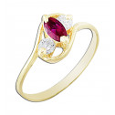 14k Yellow Gold Red Marquise Cubic Zirconia White Round Cubic Zirconia Ring