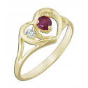 14k Yellow Gold Red White Cubic Zirconia Heart Fashion Ring