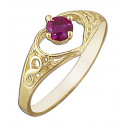 14k Yellow Gold Red Cubic Zirconia Heart Ring Infinite Love Design