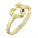 14k Yellow Gold Red Cubic Zirconia Heart Fashion Ring