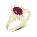 Womens 14k Yellow Gold Round Baguette Oval CZ Diamond Red Stone Fashion Ring