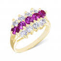 Womens 14k Yellow Gold Red White CZ Diamond Channel Ring