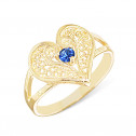 Womens 14k Yellow Gold Blue Sapphire CZ Diamond Heart Filigree Ring