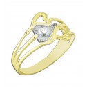 14k Yellow Gold Hearts Ring with White Round Cubic Zirconia.