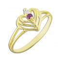 14k Yellow Gold Hearts Ring with White  and Red Round Cubic Zirconia