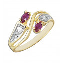 14k Yellow Gold Fashion Ring with Round White and Red Marquise Cubic Zirconia