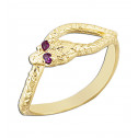 14k Yellow Gold Red Eye CZ Diamond Snake Fashion RIng