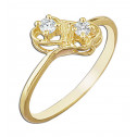 14k Yellow Gold Hearts Ring with White Cubic Zirconia