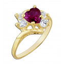 14k Yellow Gold Heart Ring with Red and  White Cubic Zirconia