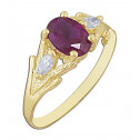 14k Yellow Gold Ring with Red Oval Cubic Zirconia and White Marquise Cubic Zirconia