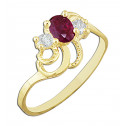 14k Yellow Gold Ring with Red Oval Cubic Zirconia and White Round Cubic Zirconia